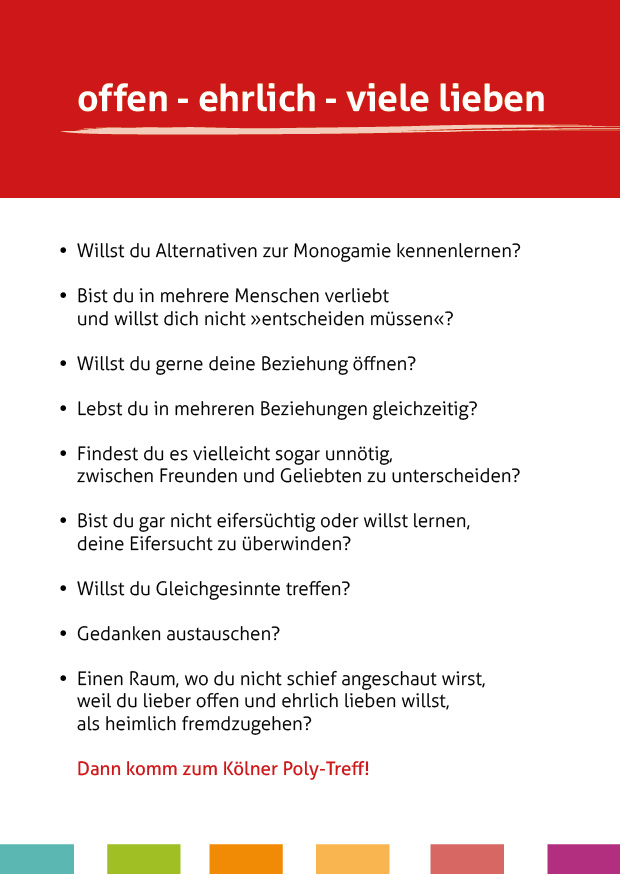 Flyer des Polyamorie Stammtisch Köln – Rückseite