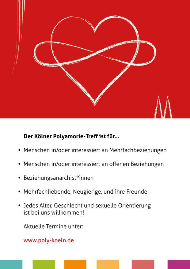 Flyer des Polyamorie Stammtisch Köln –Vorderseite